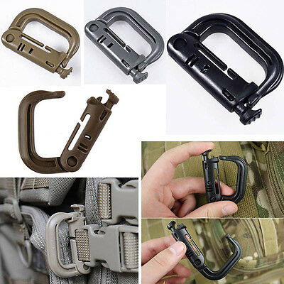 2x EDC Carabiner Shackle Tactical Molle Backpack Snap Hook D-ring Clip KeyRingTS
