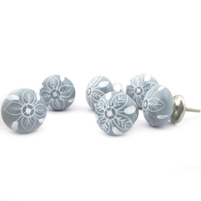 Casa Decor Set of 12 Grey Flower Handpainted Ceramic Cabinet Drawer Knobs Pulls