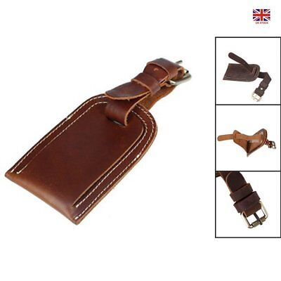 Genuine Leather Luggage Tag Travel Suitcase Duffle Bag Name Address ID Label Tag