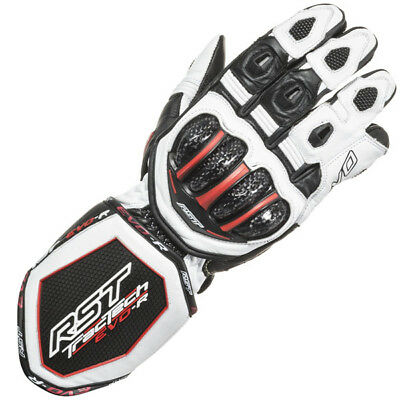 RST Tractech Evo Race CE Leather Motorcycle Gloves - White