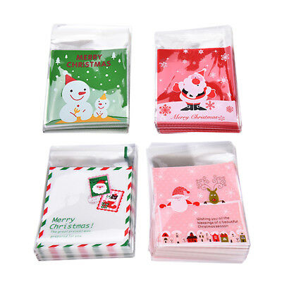 100X Christmas Self Adhesive Cookies Candy Biscuit Package Gift Bags Cellophane