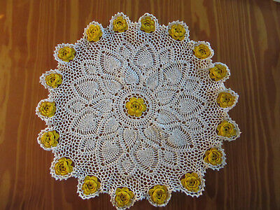 Vintage 'Yellow Rose' Crochet Doily - 37 cm diameter