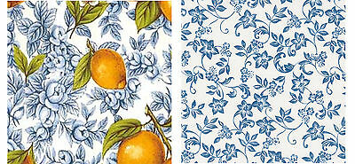 "Waterslide ceramic decals 2 x 4"" squaresTiles Lemons, Blue / white floral Fruit"