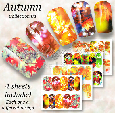 Autumn Leaf Fall Nails Maple Leaves Nail Art Water Nail Decals Stickers Wraps