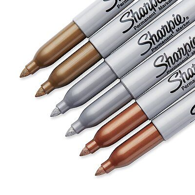 Sharpie Metallic Permanent Markers Gold Bronze Silver 3 Pc Fine Point Marker