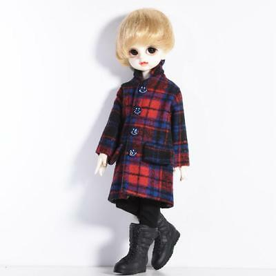 New 1/6 BJD Clothes Red Plaid Lapel Long Coat for SD YOSD AI Doll Dress up