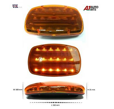 12V Bright Amber Recovery Strobe Led Lights Orange Magnetic Roof Flashing Beacon