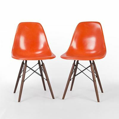 Orange Pair (2) Herman Miller Original Authentic Eames DSW Side Shell Chairs