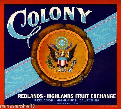 Redlands Highlands Colony American Eagle Orange Citrus Fruit Crate Label Print