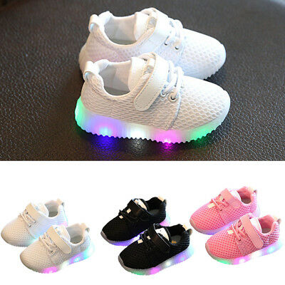1 Pair Boys Girls Kids LED Light Up Sneakers Baby Toddler Running Shoes 3 Colors