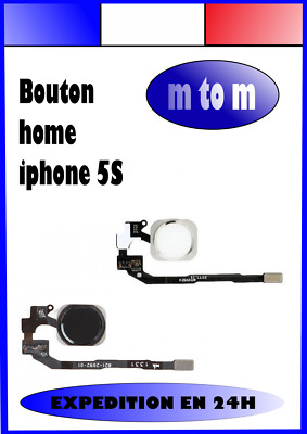 Bouton Home Nappe Complet Iphone 5S 5Se Noir Blanc Argent Or Expedition En 24H