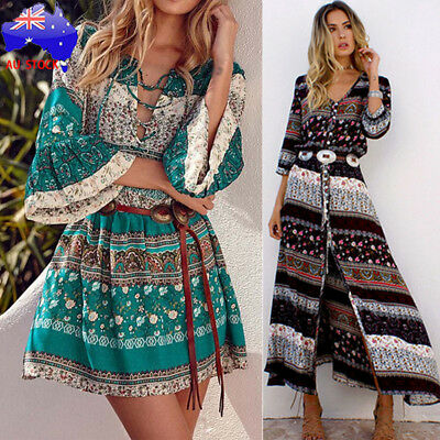 Plus Size Women Boho Long Maxi Dress Floral Summer Party Evening Beach Sundress