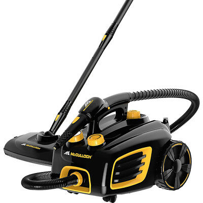 McCulloch MC1375 Rolling Canister Steam Cleaner with Mop Head Attachment, Black