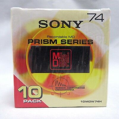 SONY MD74 Blank Mini Disc 74 Minutes Recordable 10 disc pack Prism series