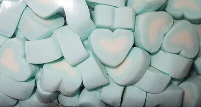 BLUE & WHITE HEART MARSHMALLOW 1kg Lollies Candy Buffet Wedding Party Frozen
