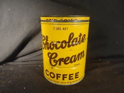Vintage 2 Lb. Chocolate Cream Key Wind Coffee Can Tin Chicago Il Correct Lid
