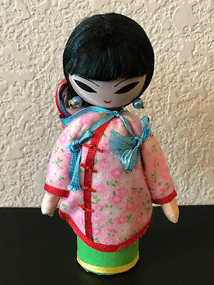 VTG Asian Doll & Child Painted Cloth Chinese 60's Made in Taiwan Oriental 6""