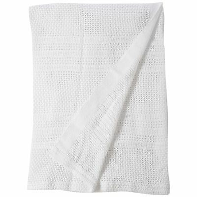 Junior Joy Cot 100% Soft Cotton Cellular Baby Blanket Breathable Safe Warm White