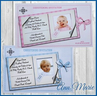 10 x PERSONALISED CHRISTENING INVITATIONS CARD BOY GIRL CHRISTENING INVITE CARDS
