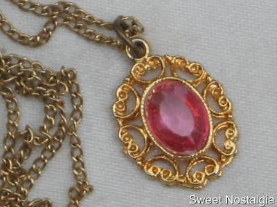 "Pretty Petite Vintage 70/80's Pink Glass Pendant & 18"" Gold Plated Chain"