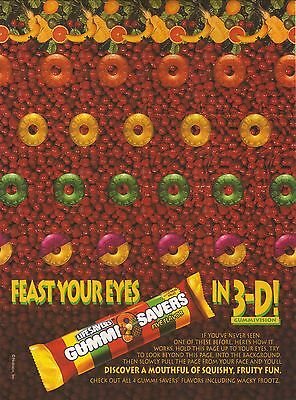 """1995 Life Savers Gummi Savers Advertisement--""""Feast Your Eyes in 3-D"""""""