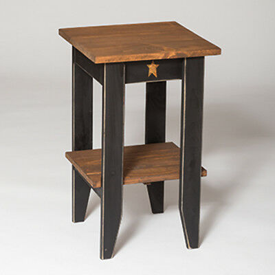 Primitive Pine Square End Table with Shelf - Amish Made in the USA - 9 Colors