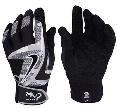 Nike MVP Elite Textured Sheepskin Baseball Batting Gloves Mitts BlackGrey LARGE