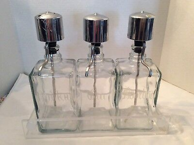 Vintage Glass Pump Liquor Decanter Bar Set with Acrylic  Tray-Etched Glass