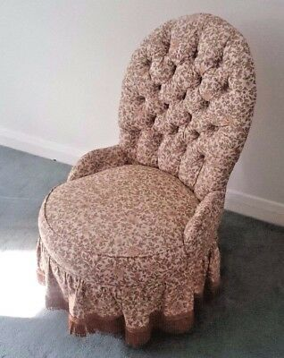 Upholstered Patterned Tufted Bedroom Chair
