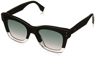 540877143981 Fendi FF 0237 3H2 Color Block Black Crystal Light Pink Plastic Square  Sunglasses