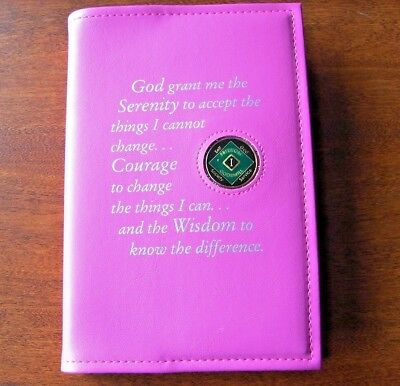 Narcotics Anonymous 6th Edition Basic Text NA Book Coin Holder Pink Cover Token