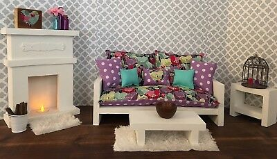 """18"""" doll furniture, Living Room with fireplace"""