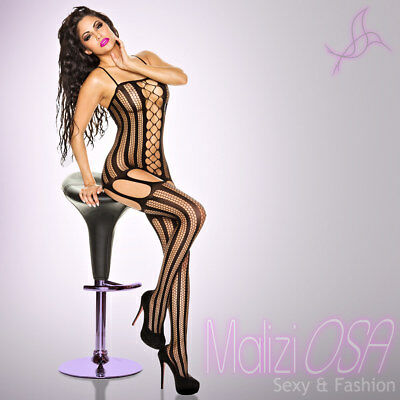 Bodystocking Catsuit Lingerie Intimo Donna Hot Rete NERO BODY Calza corpo Tutina