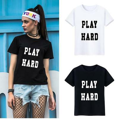 KD_ Unisex Concise Phrase Print Tee Shirt Casual Short Sleeve Lover T-shirt Re