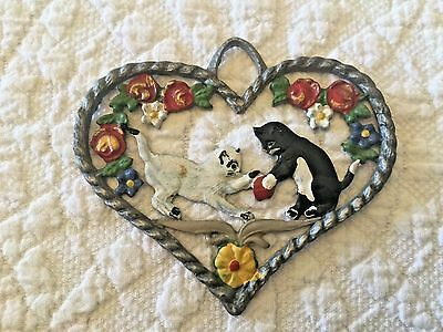 Vintage Metal Heart Shaped Kittens Playing With Ball Ornament
