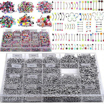 KD_ 105 Pcs Bulk lots Body Piercing Eyebrow Jewelry Belly Tongue Bar Ring Nove
