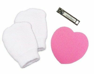 Newborn Baby Nail-Care Safety Kit: Infant Mittens, Nail Clipper, & Nail File