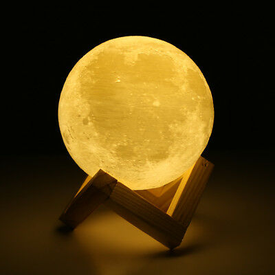 3D LED Full Moon Print Night Light Personality Creative Desk Rechargeable Lamp