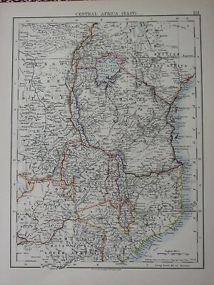 1897 Victorian Map ~ Central Africa East Congo Free State