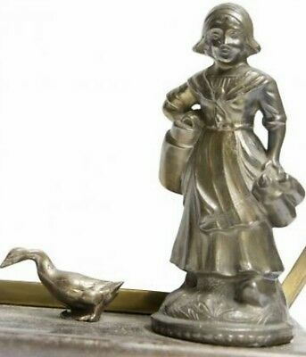 antique Table lamp with milk girl next to little duckling, approx. 1940