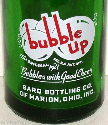 Vintage soda pop bottle BUBBLE UP Barq Bottling Marion Ohio 7oz green glass Rare
