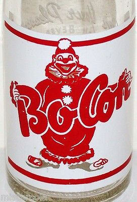 Vintage soda pop bottle BO CON clown pictured Leary Beverage Co Kansas City MO