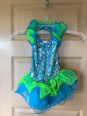 Girls Costume Gallery Blue Green Sequin Dance Dress Tutu Size Small Child
