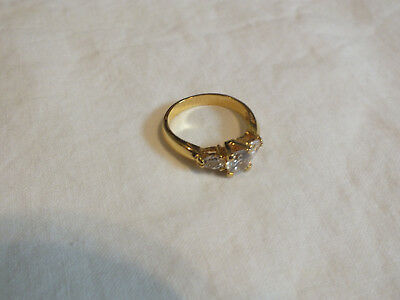 Beautiful Gold Tone Cocktail Ring Sparkling Clear Rhinestones Size 10.75 WOW