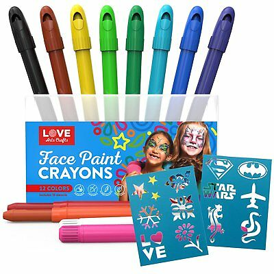 Face Paint Kit for Kids with 12 Non Toxic Color Sticks. Best Quality Body Set &