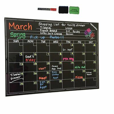 "16"" x 12"" Dry Erase Magnetic Refrigerator Calendar Message Flexible Black Board"