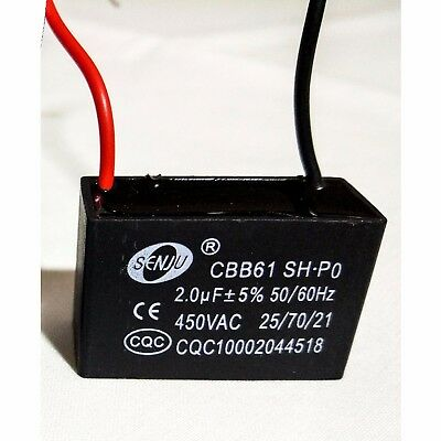 Capacitor 1.8uF/450V or 2uF/450V For Single Phase Electric Motor to Start / Run