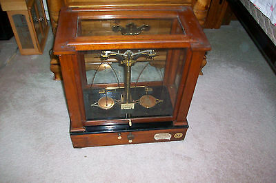 Antique Christian Becker Scale...Mahogany Wood and Glass Case