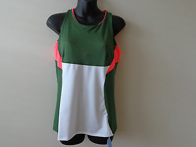 Lucky In Love Women's Tennis Top Tank Olive  Ct115 Size Small Size Large  Nwt