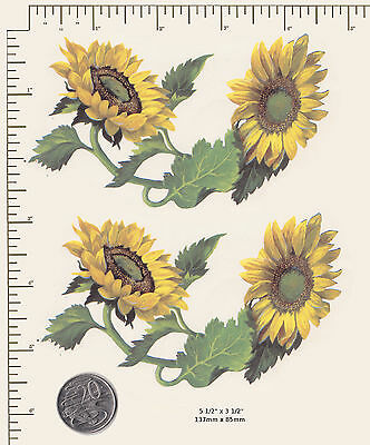 "2 x Waterslide ceramic decals Decoupage Sunflowers Floral 5 1/2"" x 3 1/2""  PD44a"